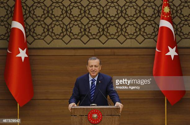 Turkish President Recep Tayyip Erdogan delivers a speech during the mukhtars meeting at the presidential palace in Ankara Turkey on March 23 2015...