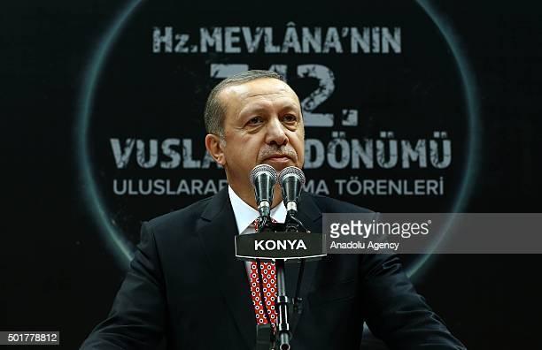 Turkish President Recep Tayyip Erdogan delivers a speech during the 'Sebi Arus' ceremony at Konya Metropolitan Municipality Sports and Congress...
