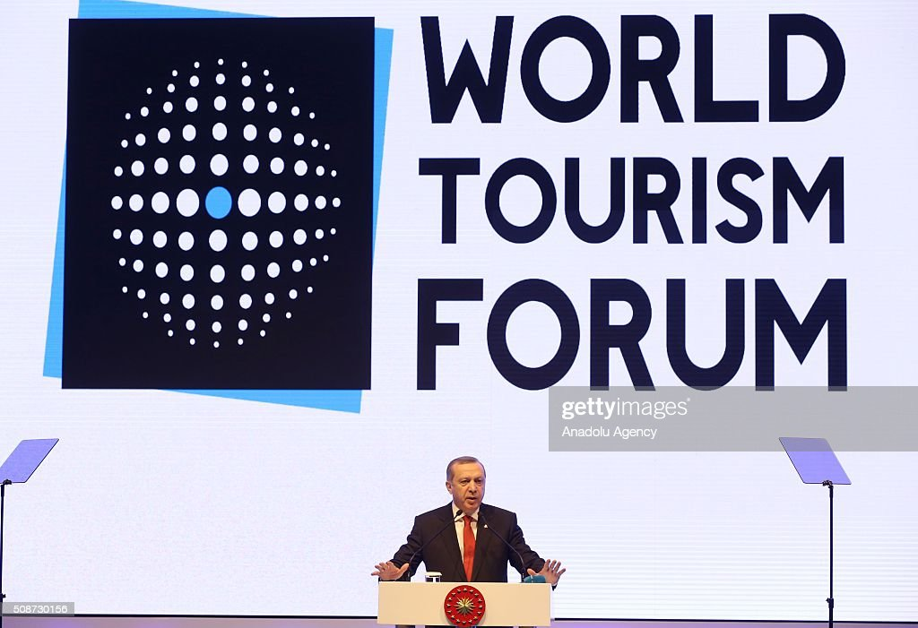 Turkish President Recep Tayyip Erdogan delivers a speech during the World Tourism forum at Lutfi Kirdar International Convention and Exhibition Center in Istanbul, Turkey on February 6, 2016.