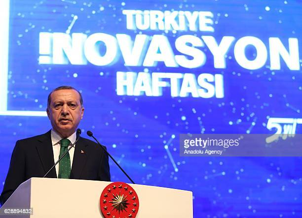 Turkish President Recep Tayyip Erdogan delivers a speech during the 5th Turkey Innovation Week held by Turkish Exporters Assembly in Istanbul Turkey...