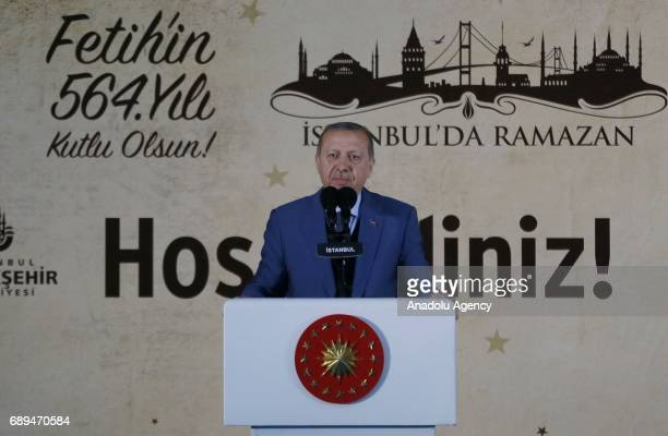 Turkish President Recep Tayyip Erdogan delivers a speech during the celebration of the 564th anniversary of Istanbuls conquest by the Ottomans on the...