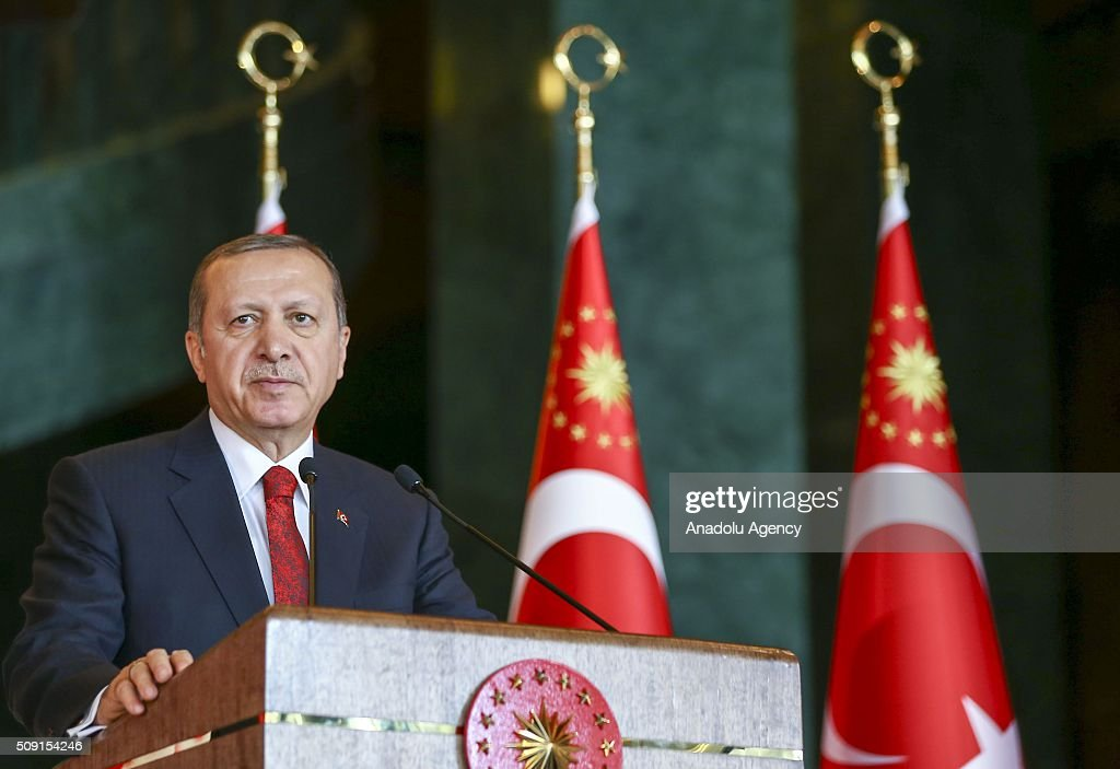 Turkish President Recep Tayyip Erdogan delivers a speech during World Smoking Cessation Day reception at Presidential Palace in Ankara, Turkey on February 9, 2016.