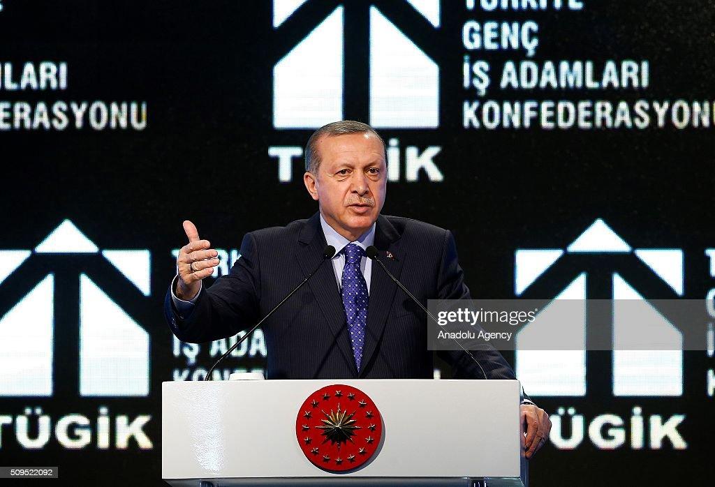 Turkish President Recep Tayyip Erdogan delivers a speech during Young Businessmen Confederation of Turkey (TUGIK) plenary session on finance in Ankara, Turkey on February 11, 2016.