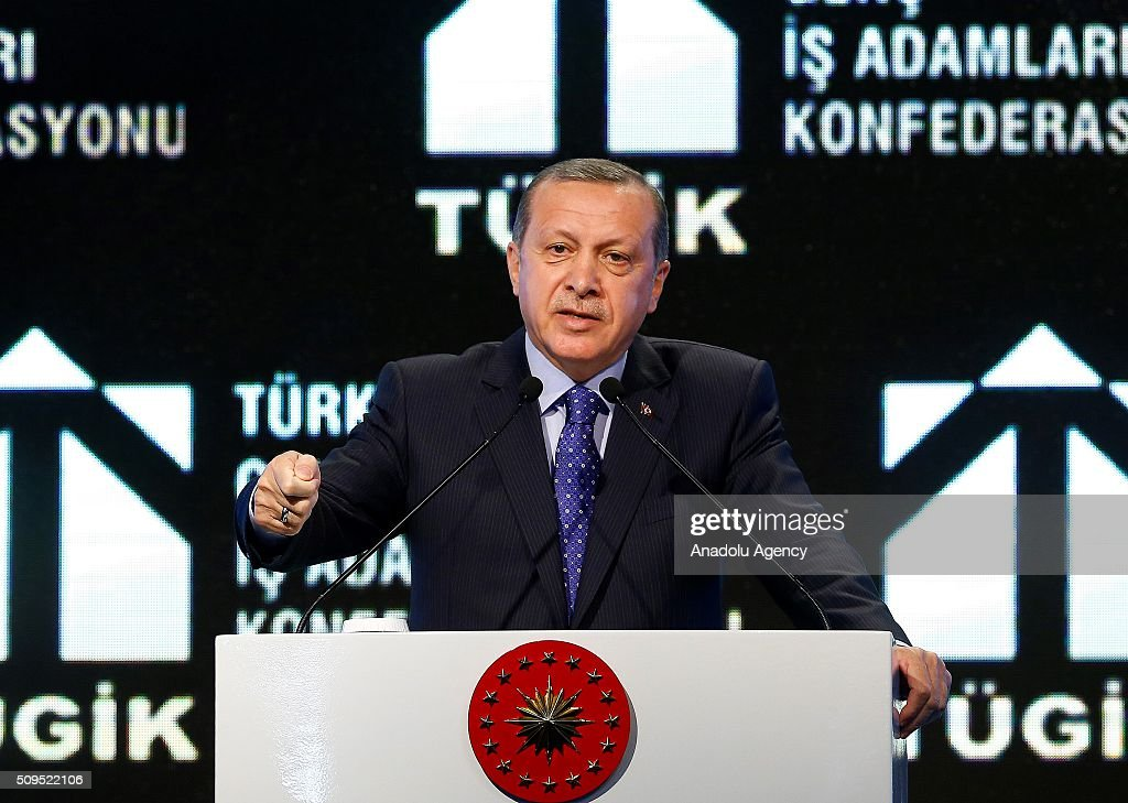 Turkish President Recep Tayyip Erdogan delivers a speech during Young Businessmen Confederation of Turkey (TUGIK) plenary session on finance in Ankara, Turkey on February 11, 2016.