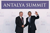 Turkish President Recep Tayyip Erdogan geets US President Barack Obama during the official welcome ceremony on day one of the G20 Turkey Leaders...
