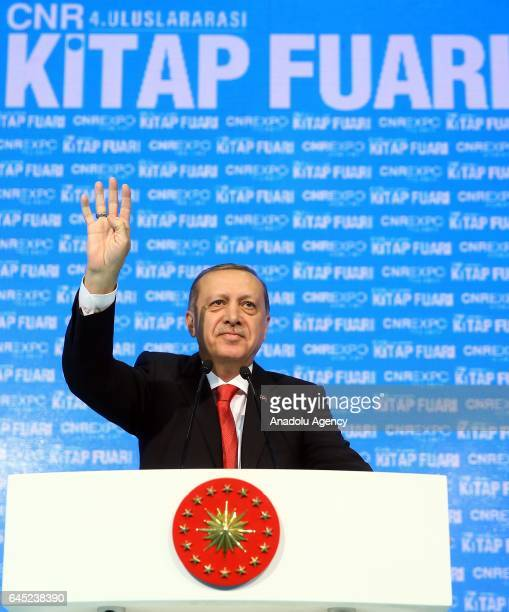 Turkish President Recep Tayyip Erdogan gestures as he delivers a speech during the opening ceremony of the 4th edition of Istanbul CNR International...