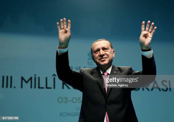 Turkish President Recep Tayyip Erdogan gestures during the National Cultural Council in Istanbul Turkey on February 3 2017