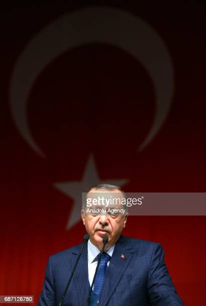 Turkish President Recep Tayyip Erdogan gives a speech during a graduation ceremony of Istanbul University faculty of medicine in Istanbul Turkey on...