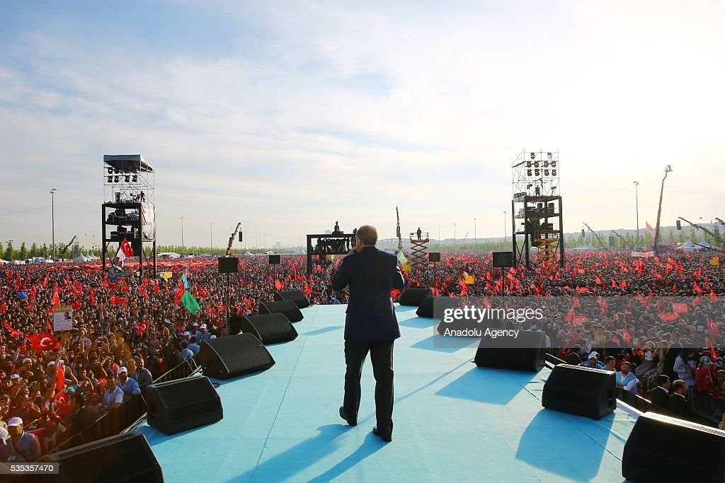 Turkish President Recep Tayyip Erdogan (C) gives a speech during the celebrations of the 563rd anniversary of Istanbuls conquest by Turks at Yenikapi Event Area in Istanbul, Turkey on May 29, 2016. On May 29, 1453, Ottoman Sultan Mehmed II (Mehmet the Conqueror) conquered Istanbul, then called Constantinople, from where the Byzantines had ruled the Eastern Roman Empire for more than 1,000 years. The conquest transformed the city, once the heart of the Byzantine realm, into the capital of the new Ottoman Empire.