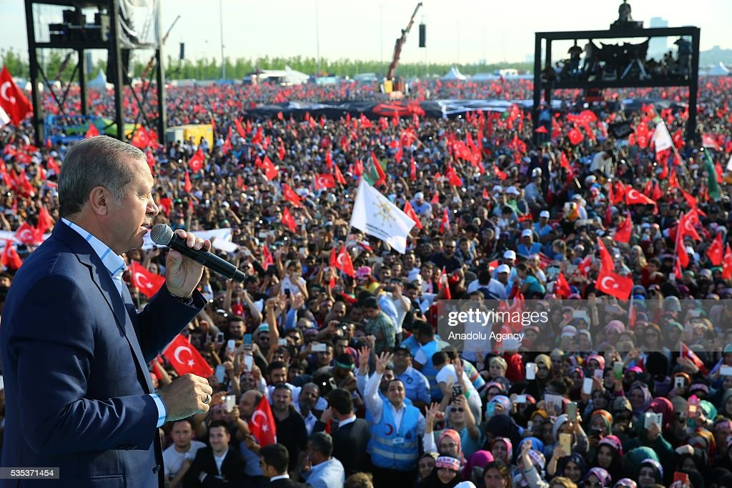 Turkish President Recep Tayyip Erdogan gives a speech during the celebrations of the 563rd anniversary of Istanbuls conquest by Turks at Yenikapi Event Area in Istanbul, Turkey on May 29, 2016. On May 29, 1453, Ottoman Sultan Mehmed II (Mehmet the Conqueror) conquered Istanbul, then called Constantinople, from where the Byzantines had ruled the Eastern Roman Empire for more than 1,000 years. The conquest transformed the city, once the heart of the Byzantine realm, into the capital of the new Ottoman Empire.