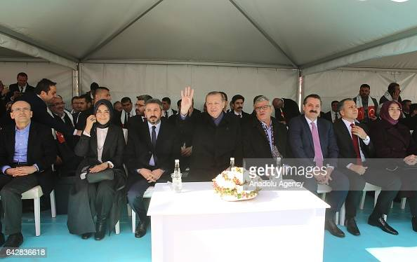 Turkish President Recep Tayyip Erdogan greets the crowd during a mass opening ceremony in Gaziantep province of Turkey on February 19 2017 Deputy...