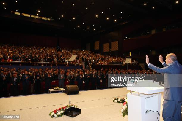 Turkish President Recep Tayyip Erdogan greets the crowd during the meeting of Ensar Foundation at the Halic Congress Center in Istanbul Turkey on May...