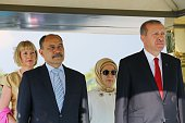 Turkish President Recep Tayyip Erdogan his wife Emine Erdogan and New Zealand's GovernorGeneral Jerry Mateparae his wife Janine Mateparae attend an...