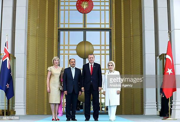 Turkish President Recep Tayyip Erdogan his wife Emine Erdogan and New Zealand's GovernorGeneral Jerry Mateparae his wife Janine Mateparae pose for a...