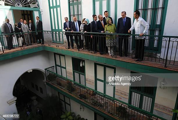 Turkish President Recep Tayyip Erdogan his wife Emine Erdogan and Turkish Foreign Minister Mevlut Cavusoglu visit to Havana museum in Cuba on...