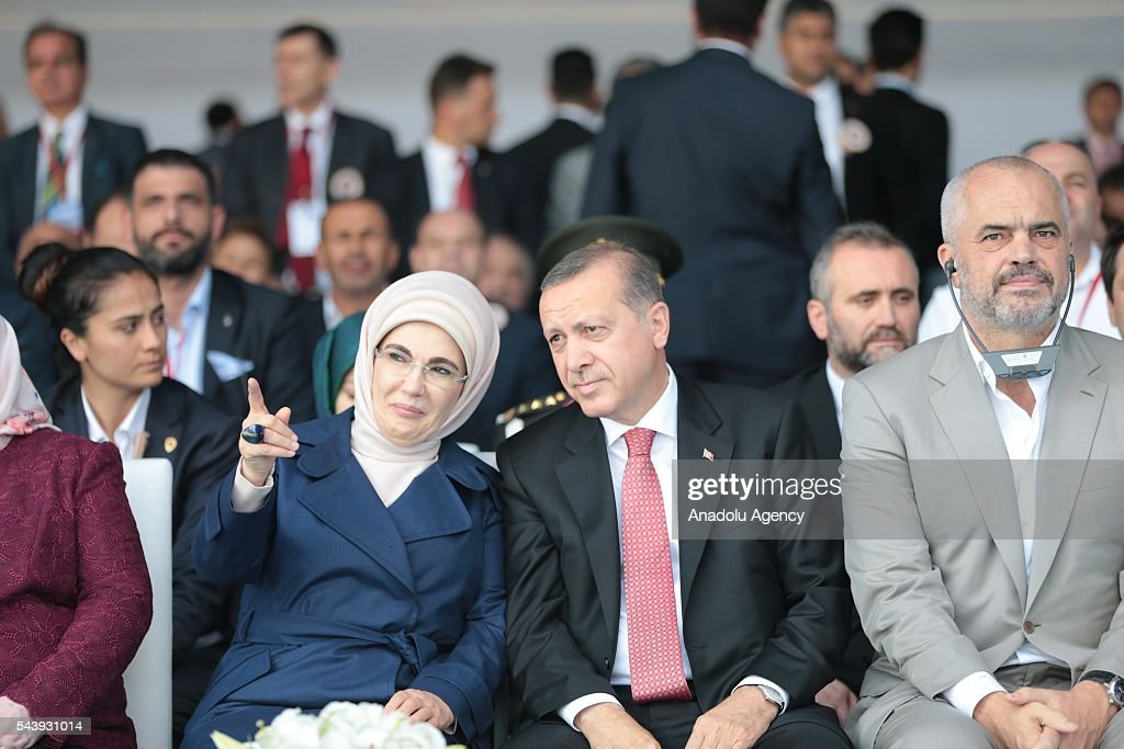 Turkish President Recep Tayyip Erdogan (C), his wife Emine Erdogan (L) and Albanian Prime Minister Edi Rama (R) attend the opening ceremony of Osmangazi Bridge in Kocaeli, Turkey on June 30, 2016. Osmangazi Bridge is the fourth-longest suspension bridge in the world and second-longest bridge in Europe.