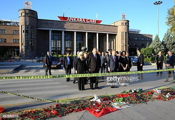 Turkish President Recep Tayyip Erdogan his wife Emine Erdogan Finnish President Sauli Niinisto and and his wife Jenni Haukio visit the site of twin...