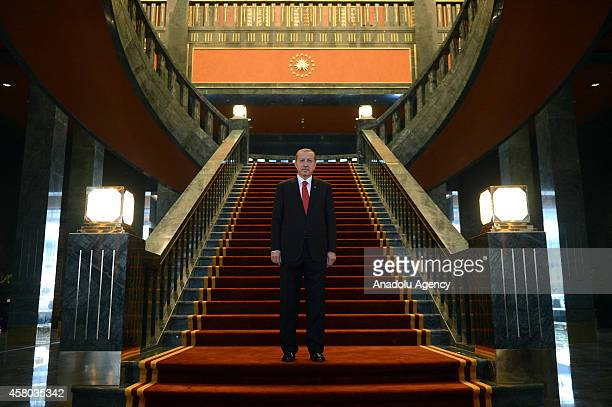 Turkish President Recep Tayyip Erdogan is seen ahead of the welcoming ceremony within Turkish Republic Day celebrations on the 91st anniversary of...