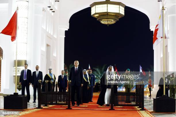 Turkish President Recep Tayyip Erdogan is welcomed by King of Bahrain Hamad bin Isa alKhalifa with an official ceremony in Manama Bahrain on February...