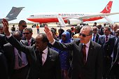 Turkish President Recep Tayyip Erdogan is welcomed with an official ceremony by Somalian President Hassan Sheikh Mohamoud at the airport in Mogadishu...