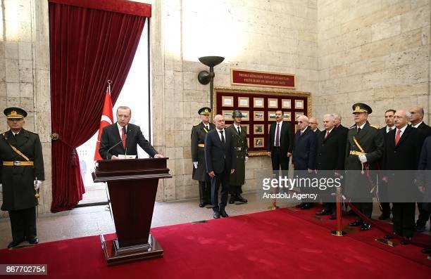 Turkish President Recep Tayyip Erdogan makes a speech as he visits the Anitkabir the mausoleum of the founder of Turkish Republic Mustafa Kemal...