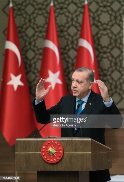 Turkish President Recep Tayyip Erdogan makes a speech during Turkish Academy of Science TUBA awards at Presidential complex in Ankara Turkey on...