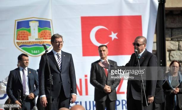 Turkish President Recep Tayyip Erdogan makes a speech with Serbian President Aleksandar Vucic in Novi Pazar Serbia on October 11 2017