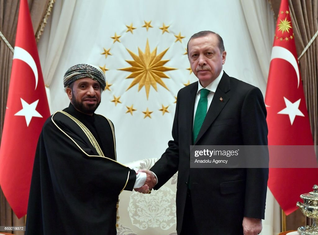 Turkish President Recep Tayyip Erdogan (R) meets Ambassador Designate of the Sultanate of Oman, Qasim Mohammed Salim Al Salhi at the Presidential Complex in Ankara, Turkey on March 14, 2017.