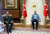Turkish President Recep Tayyip Erdogan meets Chief of the General Staff Hulusi Akar in Ankara Turkey on July 24 2016