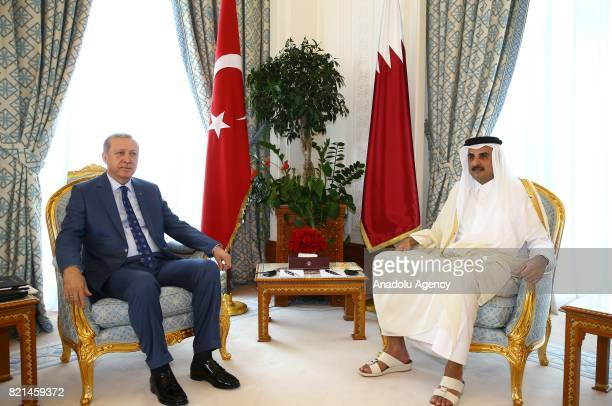 Turkish President Recep Tayyip Erdogan meets Emir of Qatar Sheikh Tamim bin Hamad Al Thani in Doha Qatar on July 24 2017