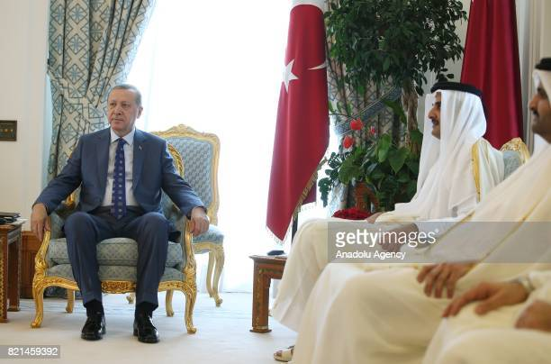 Turkish President Recep Tayyip Erdogan meets Emir of Qatar Sheikh Tamim bin Hamad Al Thani in Doha Qatar on July 24 2017