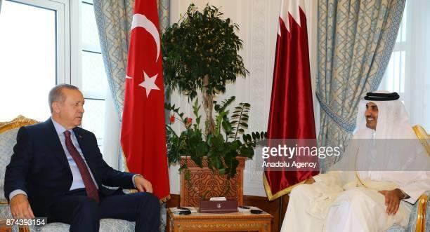 Turkish President Recep Tayyip Erdogan meets Emir of Qatar Sheikh Tamim bin Hamad Al Thani in Doha Qatar on November 15 2017