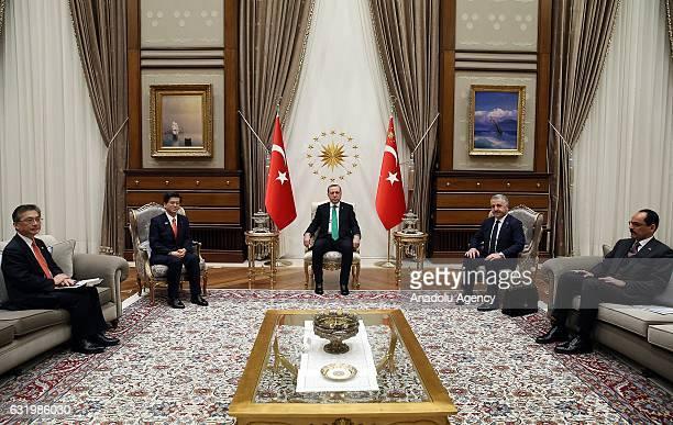 Turkish President Recep Tayyip Erdogan meets Japanese Transport and Tourism Minister Keiichi Ishii at Presidential Palace in Ankara Turkey on January...