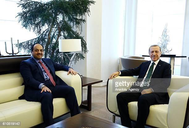 Turkish President Recep Tayyip Erdogan meets Qatar's Foreign Minister Khalid bin Mohammed Al Attiyah at Presidential mansion in Ankara Turkey on...