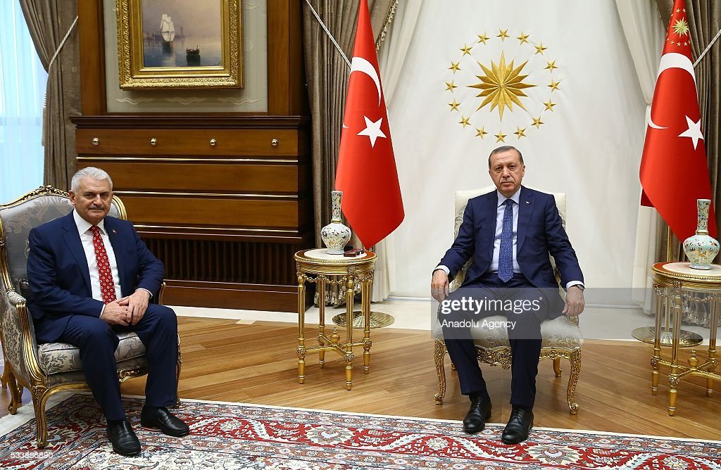 Turkish President Recep Tayyip Erdogan (R) meets with Chairman of the Turkey's ruling Justice and Development (AK) Party Binali Yildirim (L) at Presidential Complex, in Ankara, Turkey on May 24, 2016.