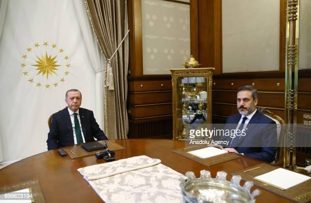 Turkish President Recep Tayyip Erdogan meets with Chief of Turkish National Intelligence Agency Hakan Fidan at the Presidential Complex in Ankara...