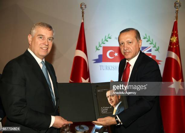 Turkish President Recep Tayyip Erdogan meets with Duke of York Prince Andrew during the sixth meeting of annual TurkishBritish Tatlidil Forum in...