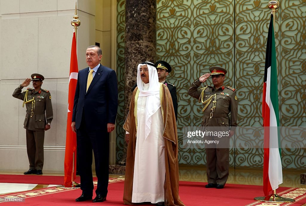 Turkish President <a gi-track='captionPersonalityLinkClicked' href=/galleries/search?phrase=Recep+Tayyip+Erdogan&family=editorial&specificpeople=213890 ng-click='$event.stopPropagation()'>Recep Tayyip Erdogan</a> (L) meets with Emir of Kuwait, <a gi-track='captionPersonalityLinkClicked' href=/galleries/search?phrase=Sabah+Al-Ahmad+Al-Jaber+Al-Sabah&family=editorial&specificpeople=5573991 ng-click='$event.stopPropagation()'>Sabah Al-Ahmad Al-Jaber Al-Sabah</a> (R) in Kuwait City, on April 28, 2015.