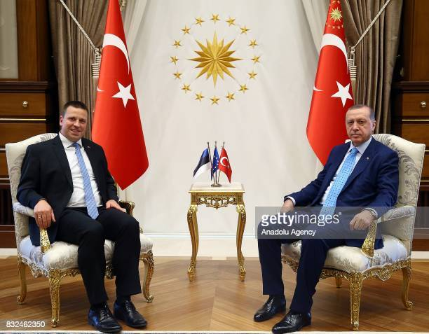 Turkish President Recep Tayyip Erdogan meets with Estonian Prime Minister Juri Ratas at Presidential Complex in Ankara Turkey on August 16 2017