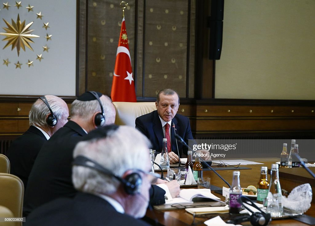 Turkish President Recep Tayyip Erdogan (R) meets with Ishak Ibrahimzadeh, leader of Turkey's Jewish community, and the members of Conference of Presidents, an American non-profit organization that addresses issues of critical concern to the Jewish community, in Ankara, Turkey on February 9, 2016.