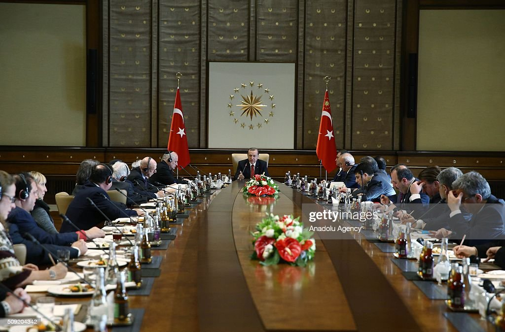 Turkish President Recep Tayyip Erdogan (C) meets with Ishak Ibrahimzadeh, leader of Turkey's Jewish community, and the members of Conference of Presidents, an American non-profit organization that addresses issues of critical concern to the Jewish community, in Ankara, Turkey on February 9, 2016.