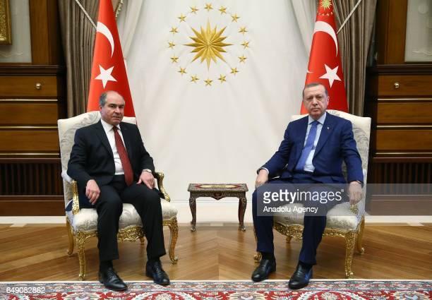 Turkish President Recep Tayyip Erdogan meets with Jordanian Prime Minister and Defense Minister Hani AlMulki at Presidential Complex in Ankara Turkey...