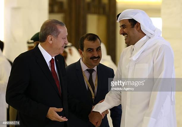 Turkish President Recep Tayyip Erdogan meets with Qatar's Emir Sheikh Tamim bin Hamad Al Thani in Doha Qatar in December 02 2015