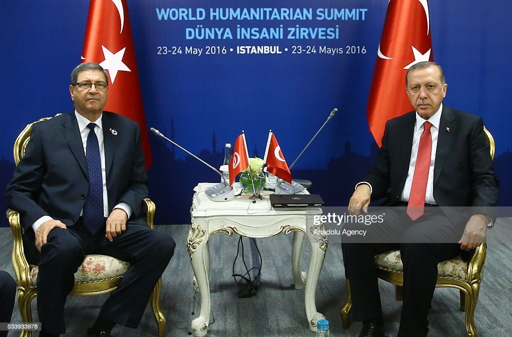 Turkish President Recep Tayyip Erdogan (R) meets with Tunisian Prime Minister Habib Essid (L) during bilateral meeting, held within the World Humanitarian Summit 2016 in Istanbul, Turkey on May 24, 2016.