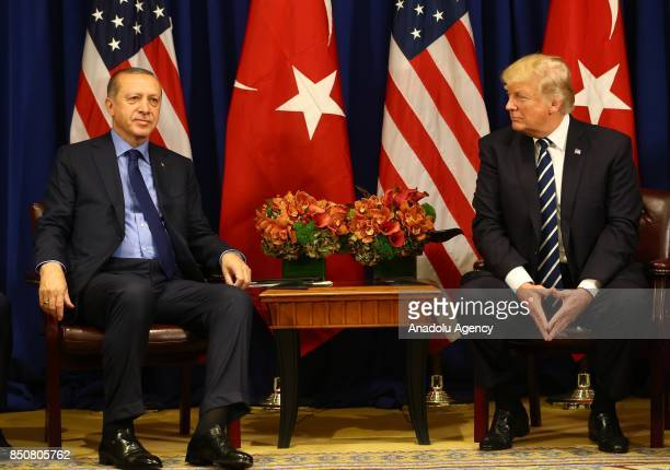 Turkish President Recep Tayyip Erdogan meets with US President Donald Trump as part of his bilateral meetings at the Lotte New York Palace Hotel in...