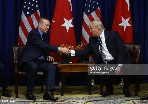 Turkish President Recep Tayyip Erdogan meets with US President Donald Trump as part of his bilateral meetings at Lotte Hotel in New York United...