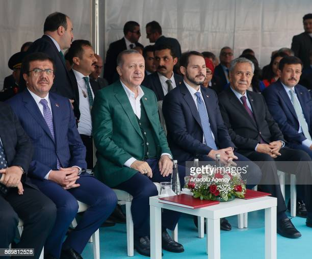 Turkish President Recep Tayyip Erdogan Minister of Economy of Turkey Nihat Zeybekci Turkish Energy and Natural Resources Minister Berat Albayrak and...