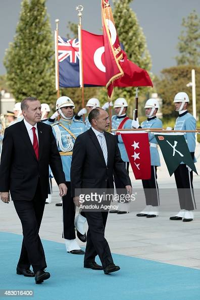 Turkish President Recep Tayyip Erdogan New Zealand's GovernorGeneral Jerry Mateparae attend an official welcoming ceremony at the Presidential Palace...