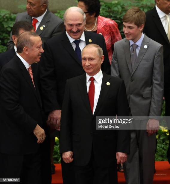 Turkish President Recep Tayyip Erdogan Russian President Vladimir Putin Belarussian President Alexander Lukashenko and his son Nikolai Lukashenko...