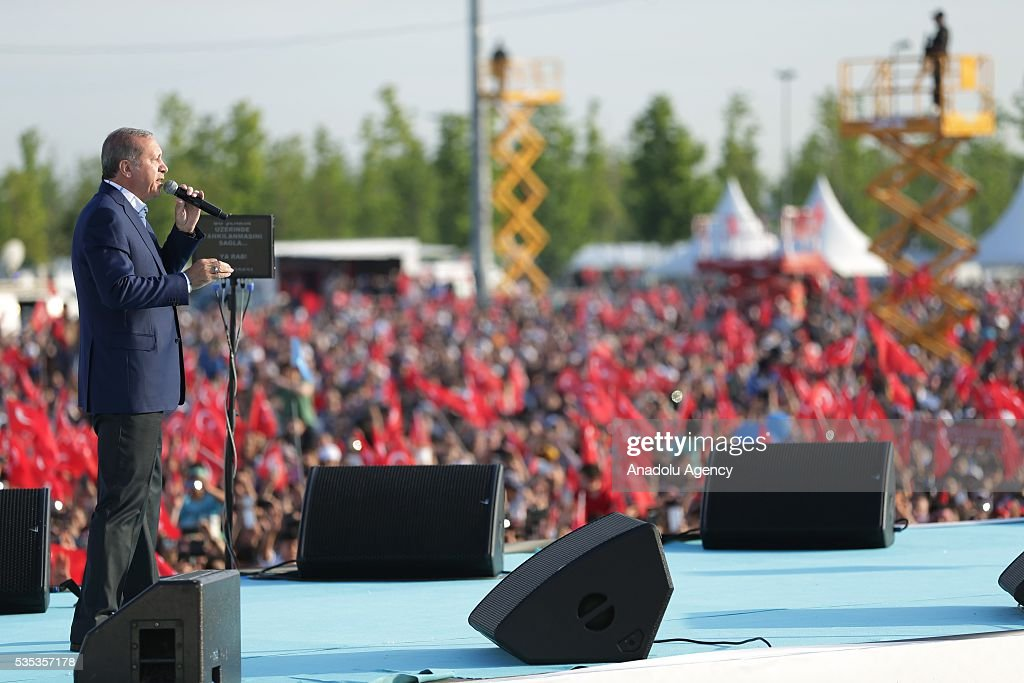 Turkish President Recep Tayyip Erdogan (C)s they attend the celebrations of the 563rd anniversary of Istanbuls conquest by Turks at Yenikapi Event Area in Istanbul, Turkey on May 29, 2016. On May 29, 1453, Ottoman Sultan Mehmed II (Mehmet the Conqueror) conquered Istanbul, then called Constantinople, from where the Byzantines had ruled the Eastern Roman Empire for more than 1,000 years. The conquest transformed the city, once the heart of the Byzantine realm, into the capital of the new Ottoman Empire.